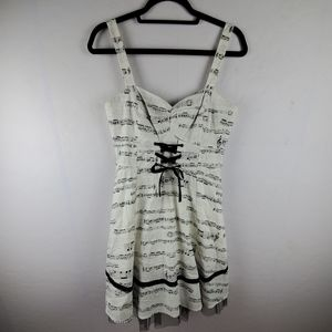 HOT TOPIC Musical Note Fit Flare Lace Front Dress